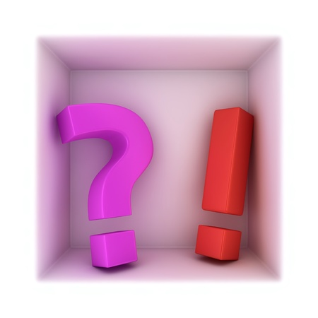 Big exclamation mark and question mark in the corner Stock Photo - 16271398