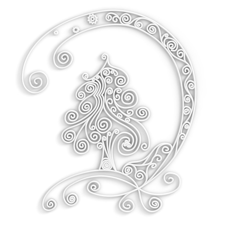 quilling: Ornamental design of christmas tree in white color, 3d quilling artwork Stock Photo