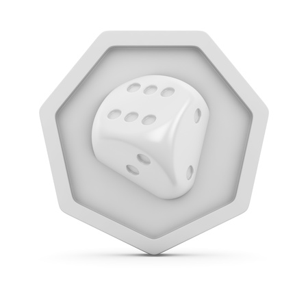 Image of dice on the white badge Stock Photo - 16375499
