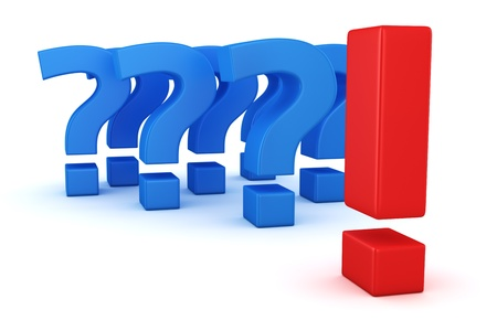 frequently asked question: Big exclamation mark against group of question marks