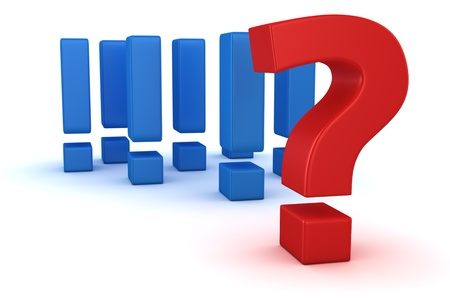 Big question mark against group of exclamation marks Stock Photo - 16375501