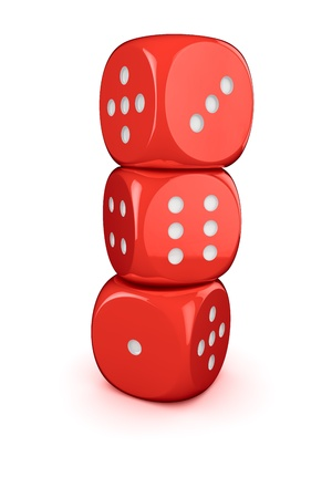 Three red dices in the column Stock Photo - 16375495
