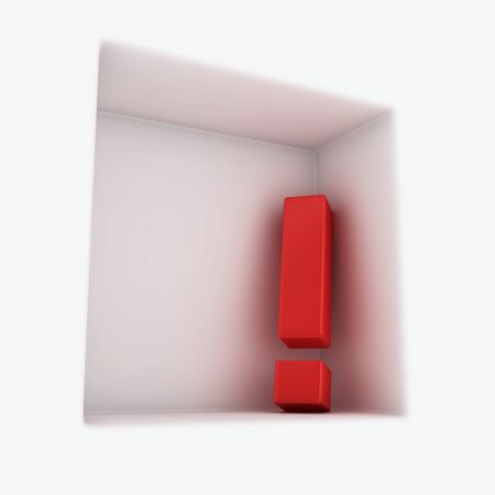 exclamation mark: Big red exclamation mark in the corner