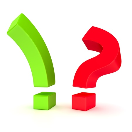 Big exclamation mark and question mark in opposition on the white background Stock Photo - 16451310