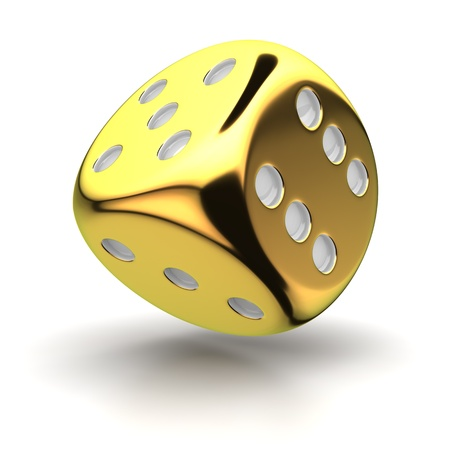 One big golden dice on the white background Stock Photo