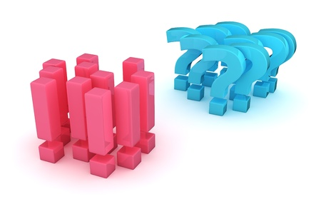Two groups of exclamation and question marks in the opposition Stock Photo - 16562325