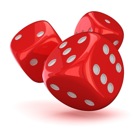 Three red dice on the white background Stock Photo - 16562327