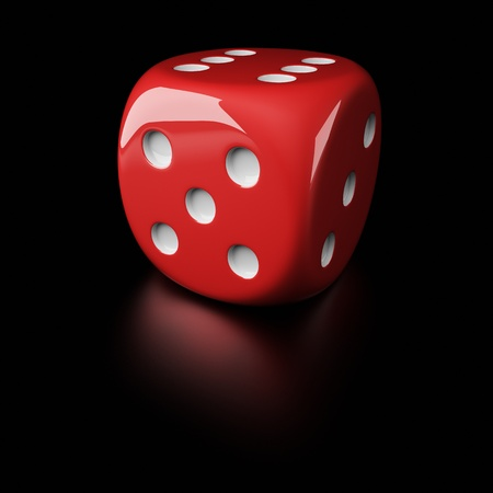 6-sided die with pips on the black background Stock Photo - 16688332