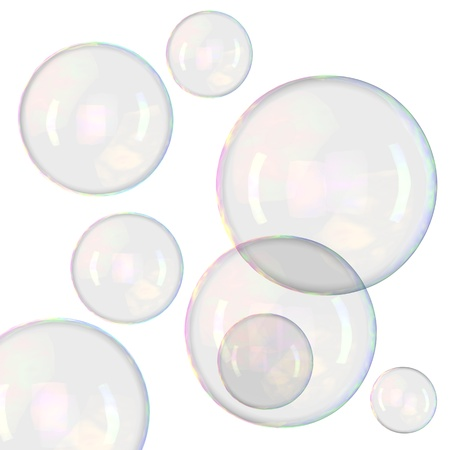Soap bubbles isolated on white