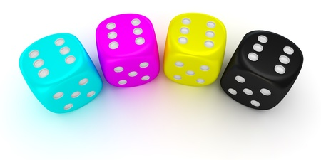Four cmyk dices with the number six on all sides Stock Photo - 17114226