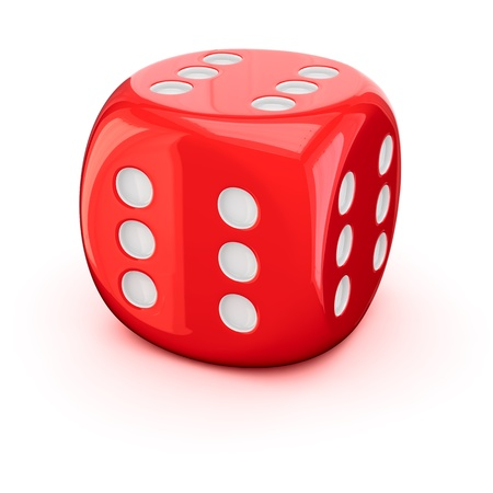 One red dice with the number six on all sides Stock Photo - 17114224