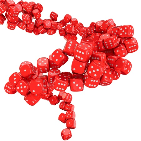 Vortex of many red dices on the white background Stock Photo - 17114208