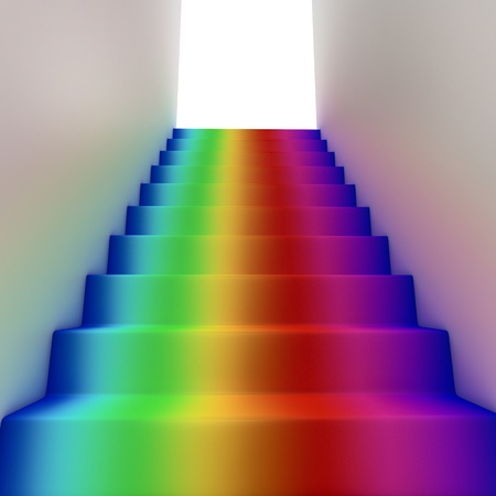 Rainbow stairway to heaven abstract concept photo