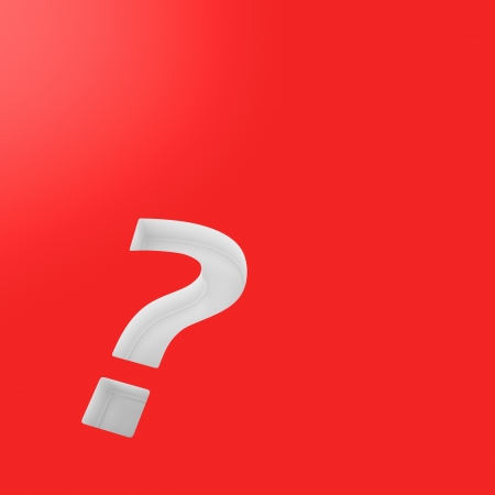 White question mark on the red background Stock Photo - 17114270