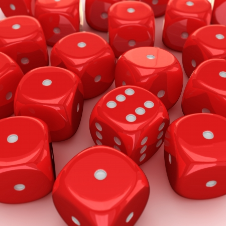 all one: One dice with the number six on all sides in the heap of unlucky dices