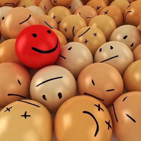 さまざまな感情を持つボールのヒープのスマイル ボール