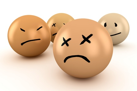 disappointment: Balls with different emotions: sadness, grief, disappointment Stock Photo