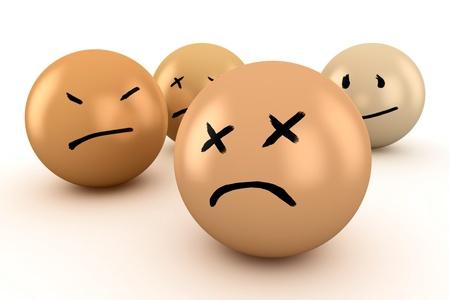 desilusion: Las bolas con diferentes emociones: tristeza, dolor, decepci�n