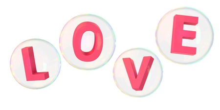 Pink letters love in soap bubbles photo