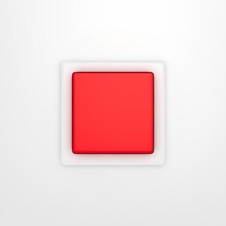 panic button: Pulsante rosso di panico isolato su sfondo bianco