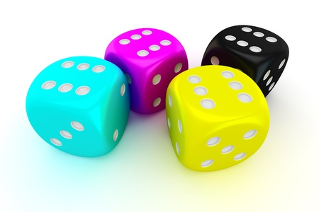 Four cmyk dices with the number six on all sides Stock Photo - 17213520