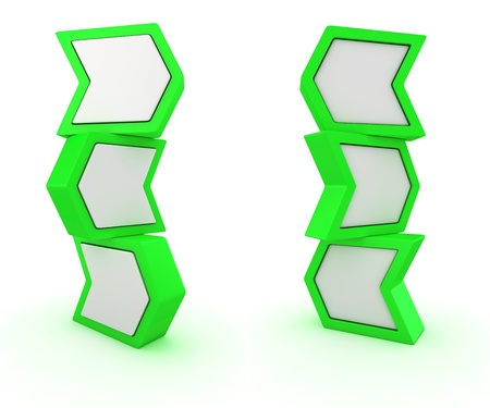 oppositional: Two columns from green arrows pointing in different directions Stock Photo