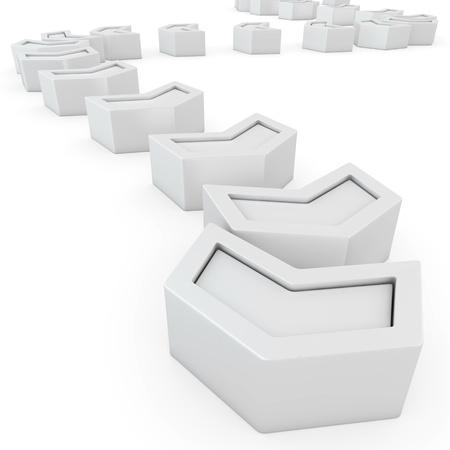 trajectoire: Trajectoire des fl�ches blanches sur le fond blanc Banque d'images