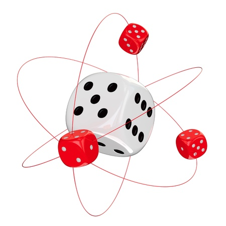 Small red dices orbiting around big white dice photo