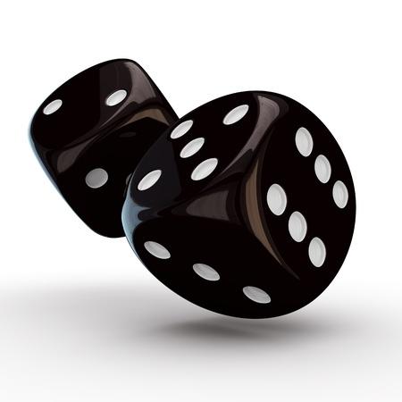 pips: Zwarte dobbelstenen met witte pitten op de witte achtergrond Stockfoto