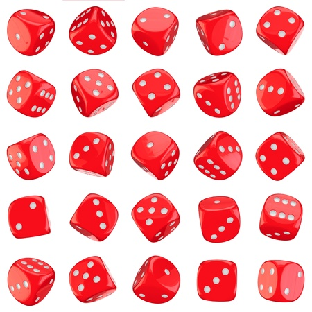 Red dice icons isolated on the white background