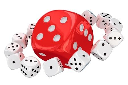 orbiting: Small white dice orbiting around big red dice