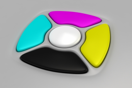 CMYK buttons of remote control on the gray background Stock Photo - 17303908