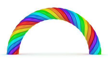 Thick rainbow arch on the white background photo