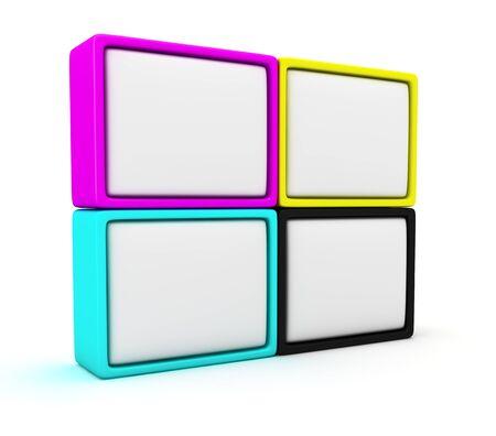 Four blank cmyk panels on the white background photo