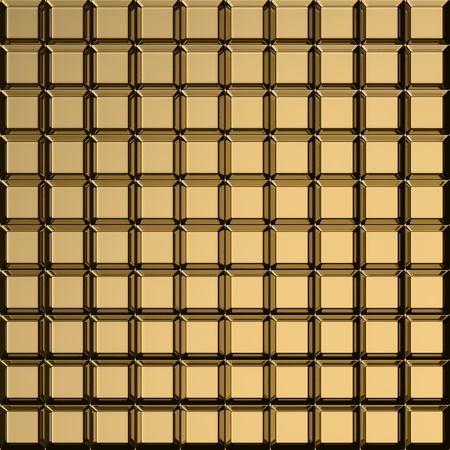 bulging: Bulging squares on the golden metal template Stock Photo