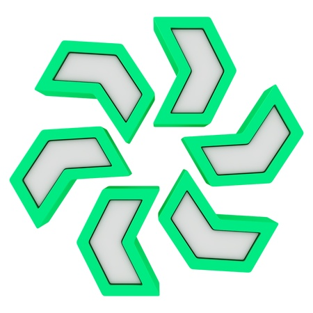 clockwise: Green arrows rotating in a clockwise direction Stock Photo