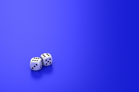 White dice on the blue background photo