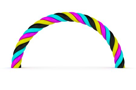 4 color printing: CMYK arch on the white background