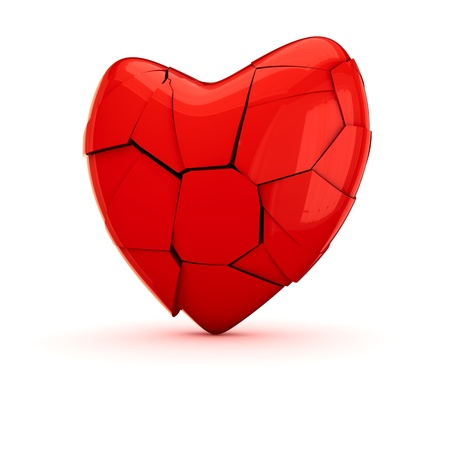 Red broken heart on the white background