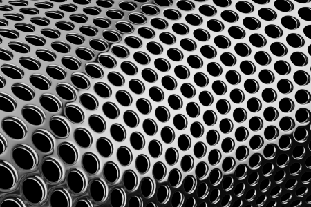 cylindrical: Holes in silver metal, perforated cylindrical pattern