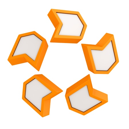 clockwise: Orange arrows rotating in a clockwise direction