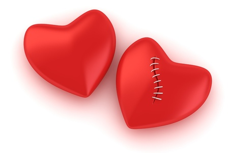 broken relationship: Two red hearts on the white background. Concept of one-way love. Stock Photo