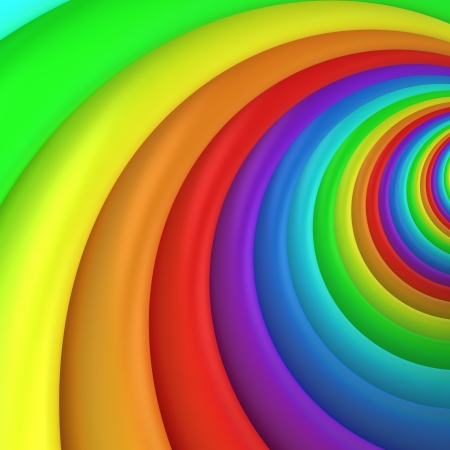 3d rainbow: Multicolored twisted background, 3d computer graphic Stock Photo