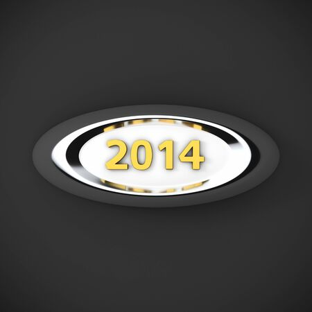 Oval metal sign with golden digits 2014 on the black background photo