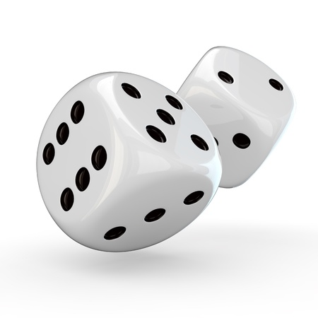 pips: White dice with black pips on the white background