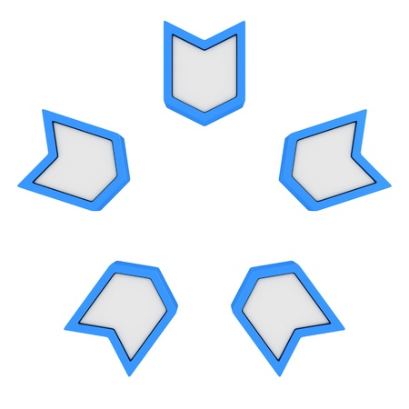 inward: Five blue arrows pointing to the center