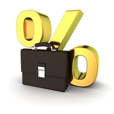 business case: Zwart business case en golden percentage symbool op de witte achtergrond Stockfoto