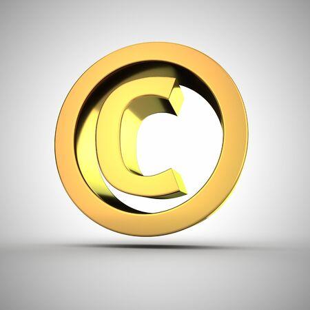 authorship: 3d golden copyright symbol closeup Stock Photo