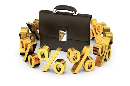 business case: Black business case omringd door gouden percentage symbolen op de witte achtergrond Stockfoto