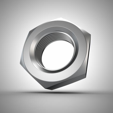 hard component: Metal nut closeup, 3d metalware component Stock Photo
